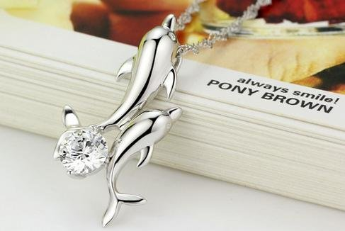 Double dolphin Pendants necklace zircon crystal rhodium female Swiss Diamond Hearts and Arrows