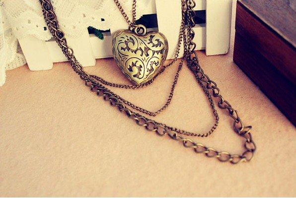 Retro love heart-shaped pattern peach multi long necklace