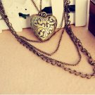 Retro love heart-shaped pattern peach multi long necklace