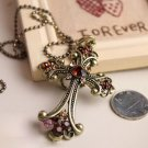 European and American jewelry vintage champagne diamond cross necklace