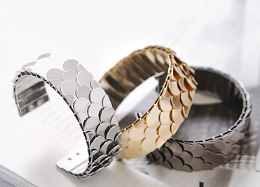 Korean fashion bangle bracelet adjustable scales flake gold