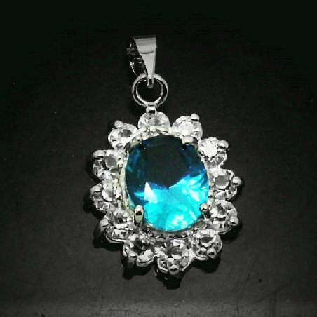 Peacock blue crystal diamond pendant necklace pendant rhodium sunflowers