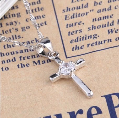 Zircon pendant cross pendant female plating really platinum