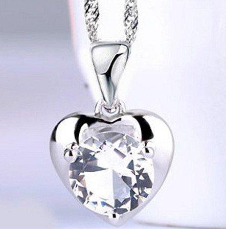Large heart-shaped pendant zircon zircon rhodium Swiss Diamond Crystal