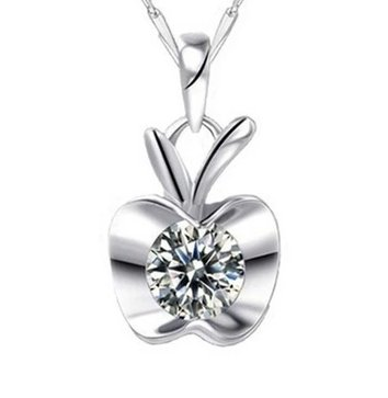 Zircon pendant Apple Crystal Apple rhodium Swiss Diamond