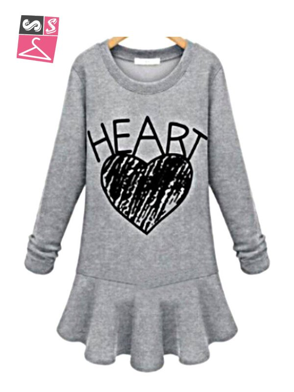 Letters printed long-sleeved sweater hedging casual dress