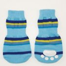 lookin' good! By FASHION PET Striped Slipper Socks in Blue Medium
