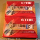 Blank TDK Audio Cassette Tapes - 60 Minute - Type I (Type 1) - 2-Pack - New
