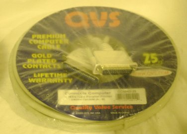 QVS 25' IEEE 1284 CENTRONICS to DB25 Parallel Printer Computer Cable NEW