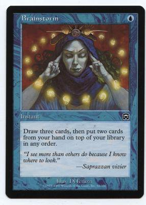 Brainstorm (Magic MTG: Mercadian Masques Card #61) MINT & UNPLAYED Blue very powerful card, for sale