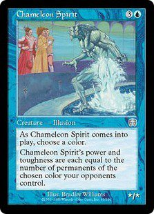 Chameleon Spirit (Magic MTG: Mercadian Masques Card #65) lightly played Blue Uncommon, for sale