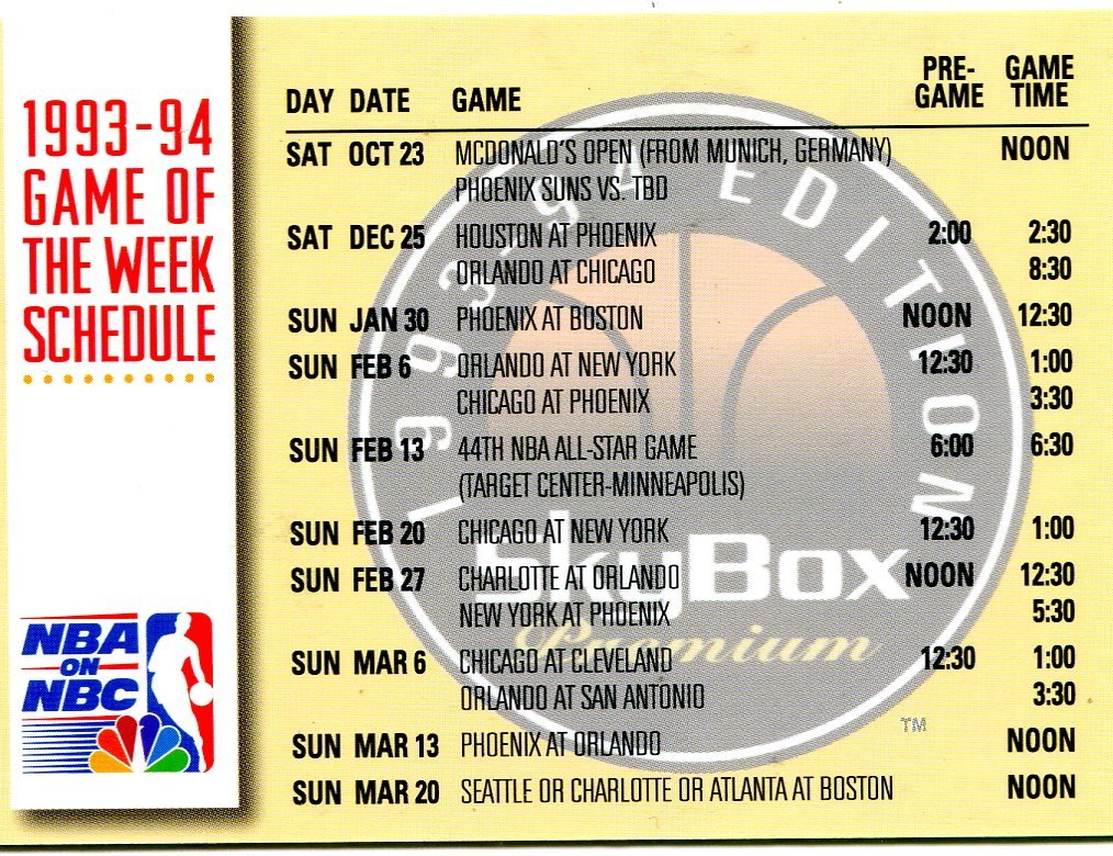 1993 Skybox Basketball Card #23 NBC Schedule