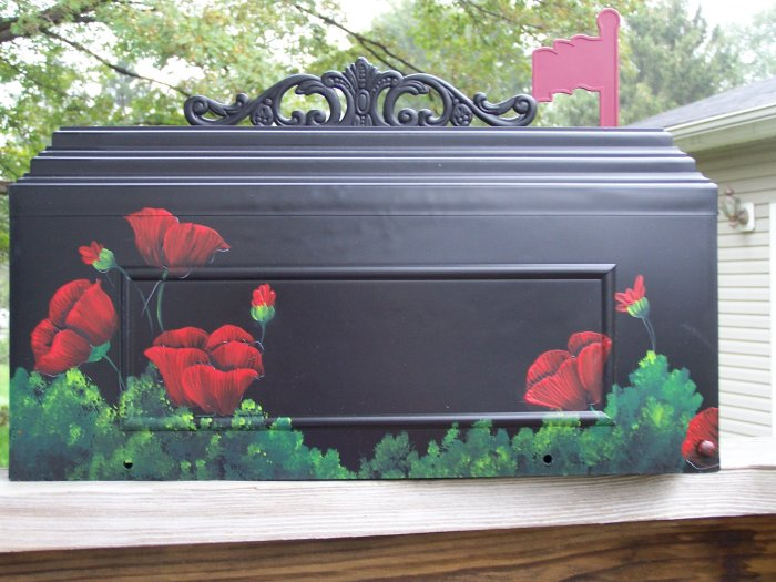 Hand Painted Poppy Mailbox