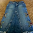 LEVIS DENIM SKIRT EMBELLISHED Rhinestones Jr 3 EUC Cowgirl Western Trendy
