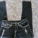 MISS CHIC JEANS MC RHINESTONES Studs White Stitch Skinny Destroy Size 3 HOT SEXY