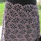 ISHYU BLACK PINK SILK Eyelet Lined Skirt Pleated Career Beautiiful! Size 4