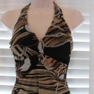 CACHE Size 2 Mesh Knit Halter Cocktail Dress Scalloped  hem line NWT  STUNNING!