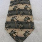 TOMMY BAHAMA TIE TAN GREEN STRIPE With Palm Trees Classic Silk USA EUC Free Ship