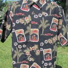 GO BAREFOOT LARGE NWOT Black Tropical Hawaiian Cars Bar Drinks  FUN Bowling