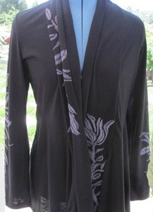 COVER CHARGE BLACK EMBROIDERED Semi Fitted Asymmetrical Hem Career TUNIC JACKET