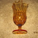 AMBER GLASS THUMB PRINT SCALLOPED VASE