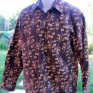ROAR POPLIN DOUCE BROWN Crisp Blossom Exclusive Design MEDIUM Long Sleeve EUC