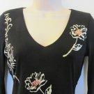 INC BLACK LONG SLEEVE CAREER TOP Size P NWT Scalloped Hem Floral Style Nylon