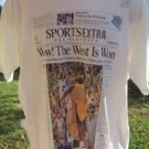 LAKERS LOS ANGELES TEE LARGE Wow The West is Won Sports Extra NEW 2000 free ship