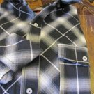 ROCA WEAR  size Medium Plaid Long Sleeve Button Down Shirt Black/White/Gray/Turq