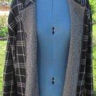 DIANE VON FURSTENBERG Plaid Sweater Coat XL Black White Pockets EUC