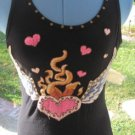 SOUL REVIVAL BLACK Studded Embroidered Wings Heart Fire Crochet Tank SMALL VGC