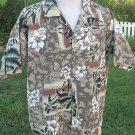 RELIQ Hawaiian Shirt Pristine Condition BROWNS Large Button Front Tropical EUC