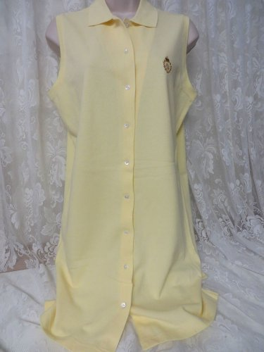 RALPH LAUREN DRESS LOGO Button Front Rugby Polo YELLOW New Medium Sleeveless