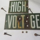 VINTAGE LINEMAN HIGH VOLTAGE Green Power  Sign 2 pc.Porcelain Nails Bullets