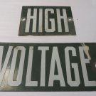 VINTAGE LINEMAN HIGH VOLTAGE Green Power ADVERTISING Sign 2 pc.Porcelain Man Cav