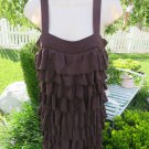 ALICE OLIVIA DRESS Ruffle Brown S/P Shimmy Shift Dress Rayon Silk Club Tiered