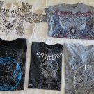 AFFLICTION TEE  LOTs 5 Live Fast Ricky Hatton Flawed/Repaired/Beaters MEDIUM