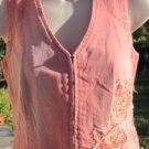 WOMENS VEST TASIDAN JEANS Pink Denim Embellished Vintage Wash Shirt Blouse