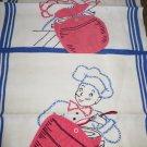 VINTAGE LINEN DISH TOWELS Cross Stitch Blue White Pot Holder UNIQUE Retro RARE