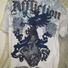AFFLICTION TEE White Blue Signature Series George St Pierre RUSH LARGE