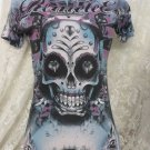 REMETEE AFFLICTION Shirt City of Angels Sugar Blue Vapor Wash Small
