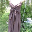 CYNTHIA STEFFE BROWN Dress MEDIUM Empire Sashed Full Lined Mesh Insert EUC