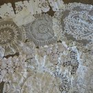 21 VINTAGE DOILIES Lace Crochet Round Square Cut Work VARIOUS White Ivory Ecru