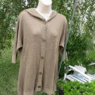 ALICE + OLIVA Sweater Hoodie Tunic LINEN Olive Green Button Front s/p ¾ Sleeve