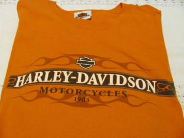 HARLEY DAVIDSON Tee Long Sleeve Orange Las Vegas Nevada EUC