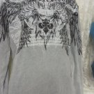 AFFLICTION HENLEY THERMAL TEE Grey Long Sleeve XL Winged Eagle