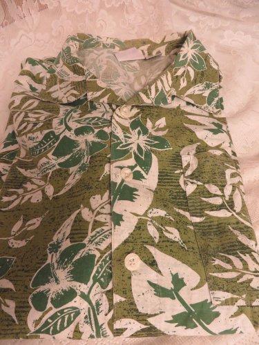 NO FEAR Shirt Hawaiian Camp Shirt COTTON  Green Pocket Button Front XL