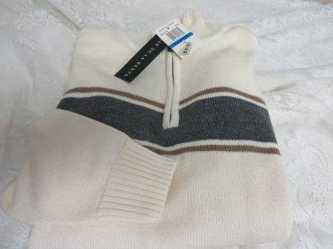 OSCAR DE LA RENTA Mens NWT Large ME4170RC Rice Stripe Golf Career Sweater