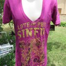 SINFUL By Affliction Tee Shirt LARGE Purple Magenta Glitter Love and Pride