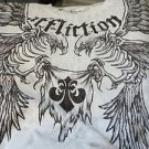 AFFLICTION TEE Large Winged Eagle Beige Black NEW Shirt